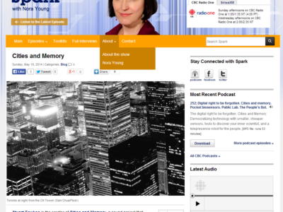 Canadian national radio interview about Cities & Memory