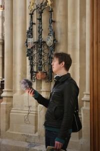Recording the organ in Bath Abbey.