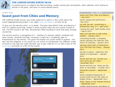 London Sound Survey feature on Cities & Memory